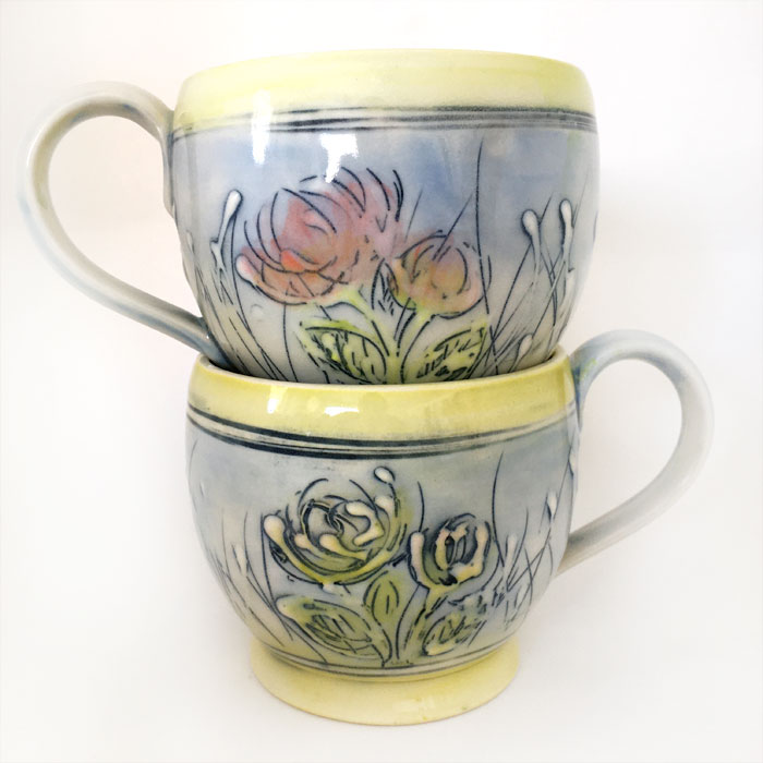 Coffee Mug | Spring Time-blue with yellow trim