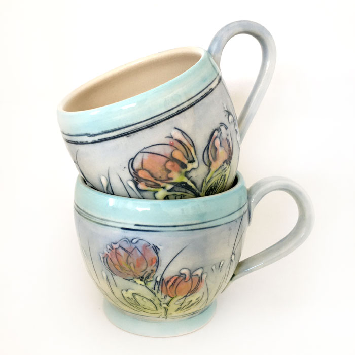 Coffee Mug | Spring Time - blue with turquoise trim